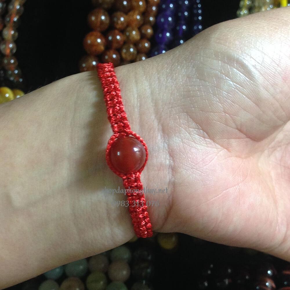 Vòng đá mã não đỏ handmade