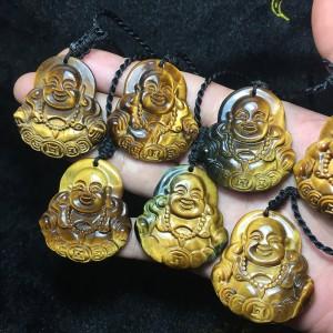 Phật di lặc đá mắt hổ nâu vàng