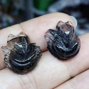 Hồ ly đá thạch anh tóc đen
