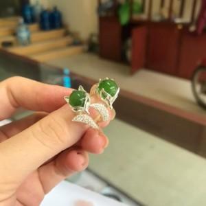 Nhẫn bạc hồ ly ngọc bích