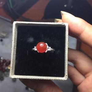 Nhẫn bạc mix đá mã não đỏ