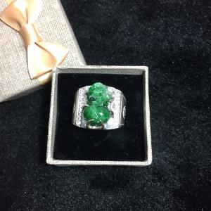 Nhẫn tỳ hưu ngọc jadeit mix bạc nam