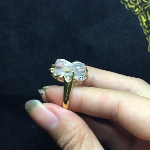 Nhẫn tỳ hưu đá thạch anh trắng mix vàng