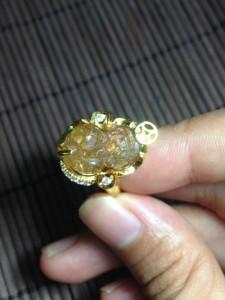 Nhẫn vàng 10k mix tỳ hưu tóc vàng